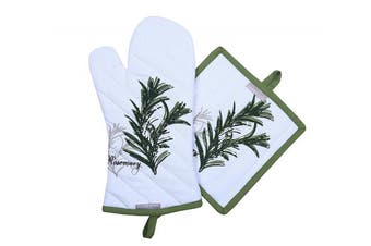 (Pot Holders & Oven Mitts) - Amour Infini Pot Holders and Oven Mitts, Unique Herb Garden Design, Heat Resistant, 100% Cotton, Set of 1 Oven Mitt and 1 Pot Holder