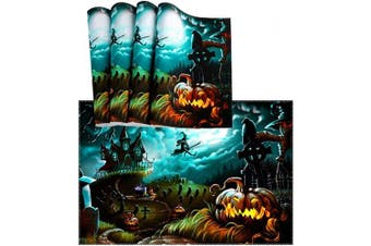 (4, Multicolor) - Naanle Halloween Placemat Set of 4, Witch Castle Moon Pumpkin Heat-Resistant Washable Table Place Mats for Kitchen Dining Table Decoration