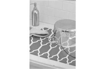 Super-Absorbent 50cm Foldable Grey Moroccan Pattern Dish Microfiber Drying Mat