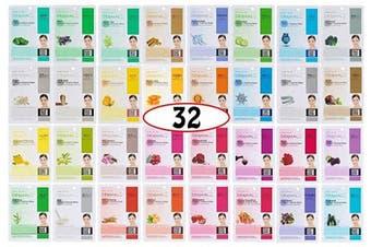 A+B Dermal Korea Collagen Essence Full Face Facial Mask Sheet 32 Full Colour SET