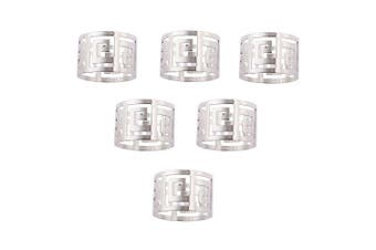 (Silver) - 6Pcs Napkin Rings Holder Buckle Hoop Serviette Holder for Wedding Hotel Supplies Table Decoration