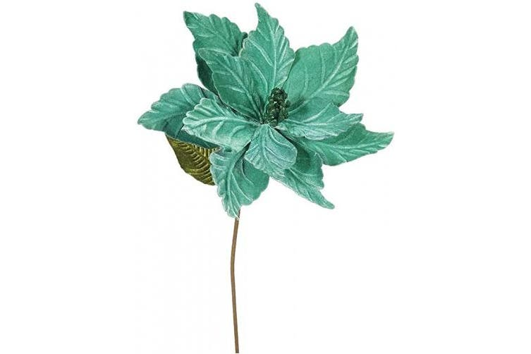 (Emerald) - Vickerman QG162724 Poinsettia with 30cm Flower Head & Paper wrapped wire Stem in 6/Bag, 60cm , Emerald