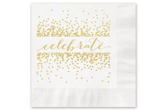 Celebrate with Confetti Beverage Cocktail Napkins - 25 Foil Printed Paper Napkins