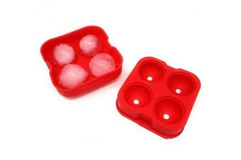 (Red) - THY COLLECTIBLES Soft Silicone Ice Ball Maker Mould - Food Grade Silicone Ice Tray - Moulds 4 X 4.5cm Round Ice Ball Spheres (Red)
