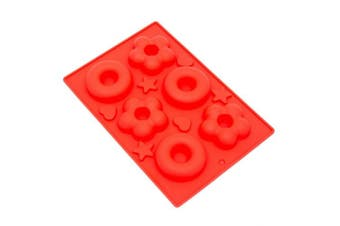 (Red) - THY COLLECTIBLES Soft Silicone Ice Cube Tray Ice Maker Mould Donuts Mould Cake Mould Chocolate Mould (Red)