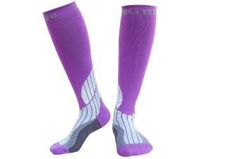 (L/XL, Purple) - Blitzu Compression Socks 15-20mmHg for Men & Women BEST Recovery Performance Stockings for Running, Medical, Athletic, Edoema, Diabetic, Varicose Veins, Travel, Pregnancy, Relief Shin Splints, Nursing