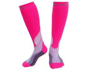 (L/XL, Pink) - Blitzu Compression Socks 15-20mmHg for Men & Women BEST Recovery Performance Stockings for Running, Medical, Athletic, Edoema, Diabetic, Varicose Veins, Travel, Pregnancy, Relief Shin Splints, Nursing