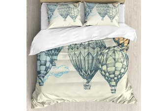 (King, Multi 1) - Vintage Decor Duvet Cover Set by Ambesonne, Hot Air Balloons in Soft Tone Fly in Sky Lighter Than Air High Tourism Artful, 3 Piece Bedding Set with Pillow Shams, King Size, Green Blue