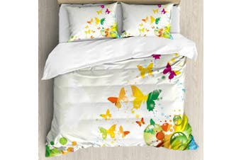 (FULL / QUEEN, Multi 1) - Colourful Home Decor Duvet Cover Set by Ambesonne, Silhouettes of Butterflies Freedom Icons of the Nature Festival Artwork, 3 Piece Bedding Set with Pillow Shams, Queen / Full, Multi