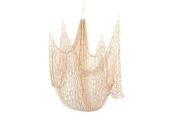 Decorative Nautical Fish Netting - Cotton Sea Net, Sea Party Decor, Fishing Theme Party Decorations, Fish Net, Beige - 200cm x 130cm