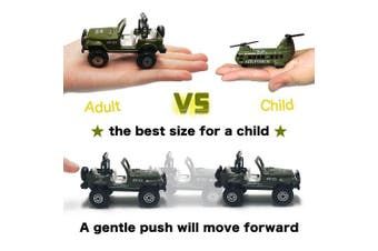 Army Vehicle Toy Set Diecast Military Model Cars Metal Army Playset Helicopter Tank Truck Jeep Armoured Car for Kids - 5 pieces