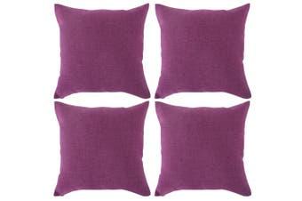 (45x45cm,4pcs, Purple) - Deconovo Pillow Cases Decorative Woven Fine Faux Linen Throw Cushion Case Pillow Cover With Zipper for Chair 46cm x 46cm Purple Set Of 4 No Pillow Insert