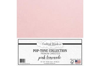 (Pink Lemonade) - Pink Lemonade Cardstock Paper - 30cm x 30cm 29kg. Premium Cover - 25 Sheets from Cardstock Warehouse