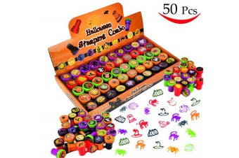 50 Pieces Halloween Assorted Stamps for Kids Self-Ink Stamps (25 DIFFERENT Designs, Plastic Stamps, Trick Or Treat Stamps, Ghouls Stamps spooky Stamps) for School Prizes, Teacher Stamps