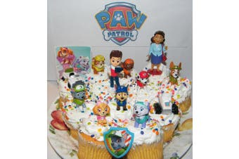 Paw Patrol Deluxe Mini Cake Toppers Cupcake Decorations Set of 14 featuring Old and New Pups Like Everest and Tracker, New Vehicles, Special Sticker and ToyRing.