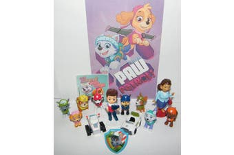 Paw Patrol Deluxe Party Favours Goody Bag Fillers Set of 14 with Old and New Figures like Tracker and Everest, New Vehicles, Special Sticker and PAW ToyRing