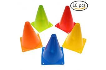 Training Cones for Kid Adult Sports Set of 10 Training Traffic Cones 18cm Multipurpose Football Cones for Outdoor and Indoor Gaming and Festive Events
