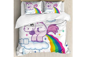 (King, Multi 1) - Funny King Size Duvet Cover Set by Ambesonne, Unicorn Pooping Rainbow over Clouds Creative Kids Girls Fairy Tale Fantasy Cartoon, Decorative 3 Piece Bedding Set with 2 Pillow Shams, Multicolor