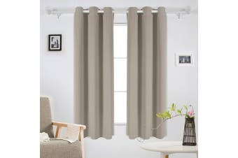 (110cm  x 160cm , Taupe) - Deconovo Room Darkening Blackout Curtains Thermal Insulated Grommet Curtain 110cm x 160cm Taupe 2 Panels