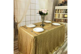 (150cm  x 260cm , Gold) - BalsaCircle TRLYC 150cm x 260cm Rectangular Gold Sequin Tablecloth for Wedding Party Christmas Day-Gold