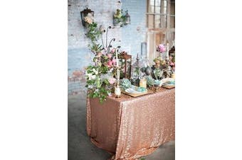 (180cm  x 180cm , Rose Gold) - BalsaCircle TRLYC 180cm x 180cm Square Wedding Sequin Tablecloth for Wedding Happy New Year-Rose Gold