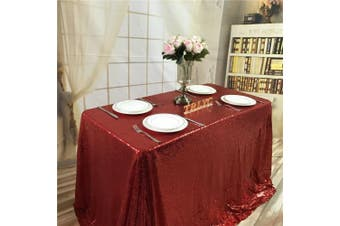 (130cm  x 130cm , Red) - BalsaCircle TRLYC 130cm x 130cm Square Sequin Tablecloth for Wedding Happy New Year-Red
