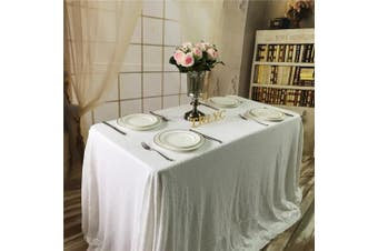 (130cm  x 130cm , White) - TRLYC 130cm x 130cm Square Sequin Tablecloth for Wedding Happy New Year--White