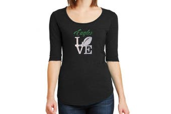(X-Large) - Women's Eagles Love SPARKLE T-Shirt - Half Sleeve Scoop Neck - Tri-Blend - SOFT FEEL