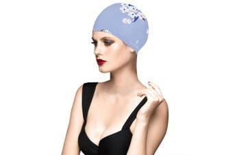 (Light Blue) - BALNEAIRE Silicone Long Hair Swim Cap for Women ,Waterproof UV Blocked Hand Painted Flower Swim Cap