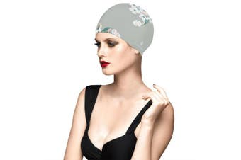 (Gray) - BALNEAIRE Silicone Long Hair Swim Cap for Women ,Waterproof UV Blocked Hand Painted Flower Swim Cap