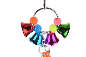 (A) - Birds Cage Accessory Parrot Macaw Chew Bell Toys Colourful Swing Hanging Toy