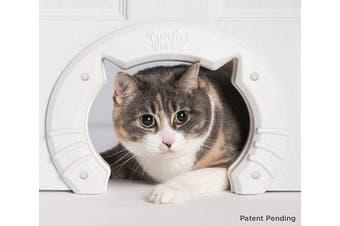 (White) - Cat Door Built In Interior Pet Door for Small, Medium, & Large Cats - Cat Doors for Interior Doors - Hole Pass Fits Indoor Hollow Core or Solid Inside Doors - Hidden Kitty Litter Box Cat Furniture
