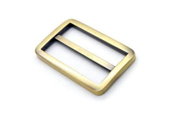 (3.2cm , Brussed Brass) - Bobeey 5pcs 3.2cm Brussed Brass Flat Metal Adjuster Sliders,Belt Sliders,Buckle Triglide For Strap Keeper Leathercraft Bag Belt Adjuster Sliders BBC9 (3.2cm , Brussed Brass)