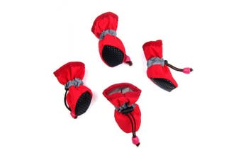 (Medium, Red) - Alfie Pet by Petoga Couture - Hudson All Weather Set of 4 Dog Boots