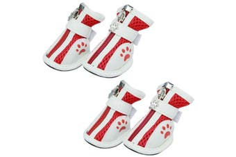 (2#: 4.6cm x 3.8cm , Red) - BUYITNOW Dog Paw Protective Boots for Small Dog Nonslip Breathable Mesh Pet Shoes 4pcs