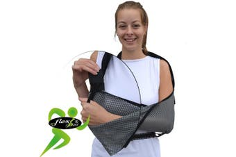 (Blk trim) - Arm sling, shoulder support 'ULTRA-COMFORT' (Black trim) ONE-SIZE reversible L or R fit, UNISEX. Light, airflow, luxuriously soft-stretch deep pocket contours arm. Waist-strap secures arm safely to body.