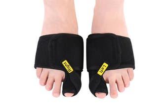 (B-black) - Doact Bunion Corrector Big Toe Splint Brace Toe Straighteners Nighttime Toe Separator Bunion Pain Relief for Hallux Valgus, Overlapping Toe, Turf Toe