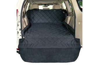 (Pet Cargo Cover Black) - F-colour SUV Cargo Liner for Dogs, Waterproof Pet Cargo Cover Dog Seat Cover Mat for SUVs Sedans Vans with Bumper Flap Protector, Non-Slip, Large Size Universal Fit