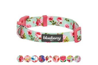 (Regular Collar - Medium, Turquoise) - Blueberry Pet Spring Scent Floral Collection - Regular, Personalised Collars and Seatbelts for Dogs