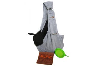(Grey Sling & Green Bowl) - Alfie Pet by Petoga Couture - 3-Piece Dog Park Bundle: Chico 2.0 Revisible Pet Sling Carrier, Microfiber Fast-Dry Towel, Rosh Collapsible Travel Bowl