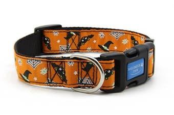 (M) - BIG SMILE PAW Nylon Dog Collar Adjustable,Halloween Theme