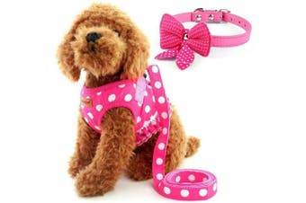 (S, Pink) - Cute Small Dog Harness, Ladies Polka Dots Dog Vest Harness Set with Pink Leash and Bowknot Collar, 3 in 1 Girl Style Vest Harness Set for Puppy and Cat