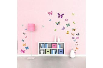 (DW-1201) - Decowall DW-1201 38 Colourful Flower Butterflies Kids Wall Decals Wall Stickers Peel and Stick Removable Wall Decals for Kids Nursery Bedroom Living Room