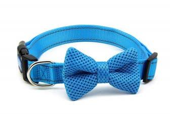 (L, Blue) - BIG SMILE PAW Nylon Dog Collar with Bow Tie,Reflective Dog Collar,Adjustable Dog Collar
