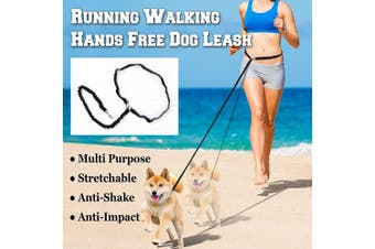(BLACK) - New Hands Free Running Dog Leash with Reflective Strip Tranning Pet Leash for Jogging Walking Hiking