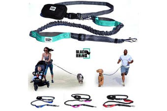 (1.2m, Gray/Aqua) - Black Rhino - Premium Hands Free Dog Leash for Running Walking Jogging & Hiking - Adjustable Length Dual Handle Bungee Leash | Medium – Large Dogs | Neoprene Padded Handles - Running Pouch Included