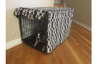"(LARGE 36x 24"" x 70cm ) - Modern Brown & White Designer Dog Pet Wire Kennel Crate Cage House Cover (Small, Medium, Large, XL, XXL)"
