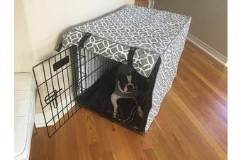 "(XL 42x 27"" x 80cm ) - Grey & White Stained Glass Print Grey Dog Pet Wire Kennel Crate Cage House Cover (Small, Medium, Large, XL, XXL)"