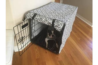 "(MEDIUM 30x 21"" x 60cm ) - Grey & White Stained Glass Print Grey Dog Pet Wire Kennel Crate Cage House Cover (Small, Medium, Large, XL, XXL)"
