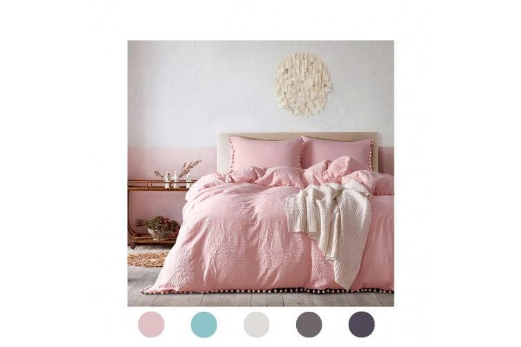 (Twin, Light Pink) - Moreover 2 Pieces Pink Bedding Pink/Peach Duvet Cover Set Ball Fringe Pattern Design Pink Girls Bedding Set Twin One Ball Lace Duvet Cover One Ball Fringe Pillow Sham (Twin, Peach/Pink)